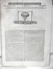 ANTICA STAMPA INCISIONE 1843 Aerostato Miniere Napoleone salvato Alatri Lazio di