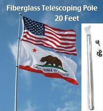 20' FT FIBERGLASS TELESCOPING FLAG POLE camp rv desert antenna dune trail mount