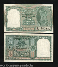 INDIA 5 RUPEES P34 1949 *RAMA RAU*SIGN ANTELOPE TIGER UNC CURRENCY RARE BANKNOTE