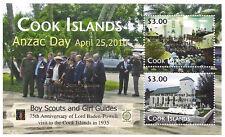 Cook Islands Anzac Day - 22nd World Scout Jamboree Souvenir Sheet - Gold Ovpt