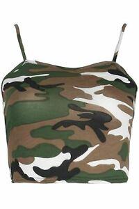 Womens Ladies Sleeveless Strappy Bandeau Plain Camisole Boobtube Bralet Crop Top