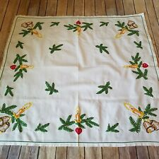 Dresser Scarf Vtg Table Topper Hand Embroidered Runner Candle Bell Red Ornaments