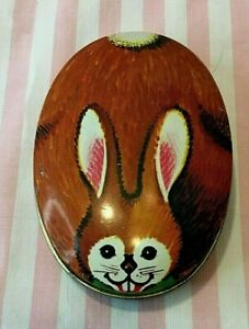 """Vintage Armstrong and Clayton Bedford England Brown Bunny Rabbit Tin 3 1/2"""" Long"""