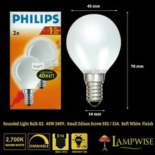 40 Watt Philips Opal Round Golf Ball Bulb Ses E14 Soft White Small Edison Screw
