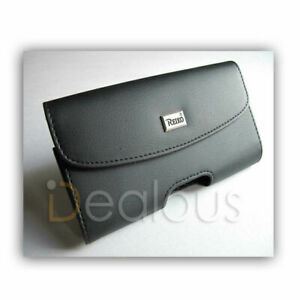 Premium Black Leather X-LARGE Pouch Case Fit w/Otterbox Case for Samsung LG BLU