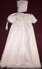 NEW Girls Christening Baptism Gown Dress Set Cotton Lace Alexis 0 3 mo 2 pc Cap