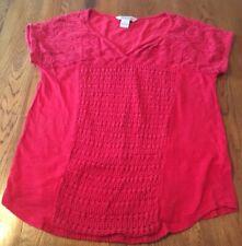 Lucky Brand Red Crochet Shirt Women's L