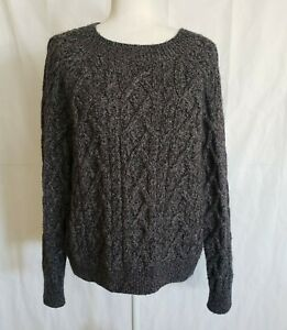 Vince Gray Heathered Cable Knit Crew Neck Sweater Small Merino Wool Blend