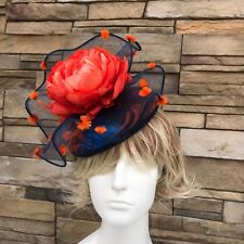 Fascinator Hat NYC. Blue/Orange. Handmade in NY. Derby,Wedding.Fits all.