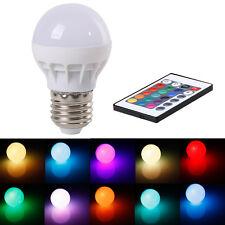 3W E27 RGB LED Light 16 Color Change Ball Lamp Bulb 85-265V + IR Remote Control
