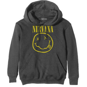 Nirvana 'Yellow Smile' (Grey) Pull Over Hoodie - NEW & OFFICIAL!