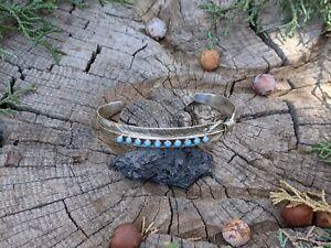 Navajo Sleeping Beauty Turquoise Bracelet Sterling Silver cuff Jewelry Sz 7 in