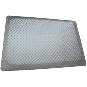 Commercial Floor Mat 3 ft. x 4 ft. x 15/16 in. Anti-Fatigue Diamond Plate Gray