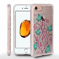Air Cushion Shield For Apple iPhone 7 Plus Crystal Clear Case SWIRL FLOWER