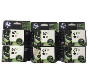 Lot of 6 NEW HP 67XL High Yield Original Ink Cartridge, Black (3YM57AN) Exp 2022