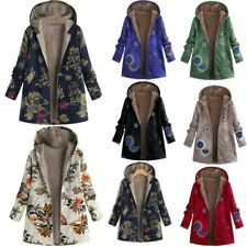 Womens Fashion Plus Size Winter Warm Hoodie Outwear Floral Print Pockets Coats
