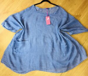"""My Story Linen Oversized Lagenlook 82"""" Bust Size 82 Inches Top Artsy OSFA #1647"""
