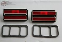 Chevy GMC Truck Blazer Jimmy Suburban Rear Side Marker Lamps Red Chrome Trim New