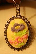 Lacy Picot Rimmed Brasstone Cream Pink Violet Bouquet Flowers Pendant Necklace