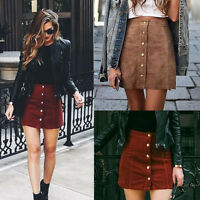 Fashion Women High Waist Lace Up Suede Leather Pocket Preppy Bodycon Mini Skirt
