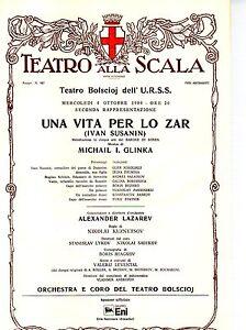 GA35 Stampa reprint  Locandina Teatro alla Scala 4 ottobre 1989 -Una vita per lo