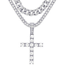 "Silver Plated Iced Cross Pendant 24"" Tennis & CZ Cuban Chain Necklace TCMP 210 S"