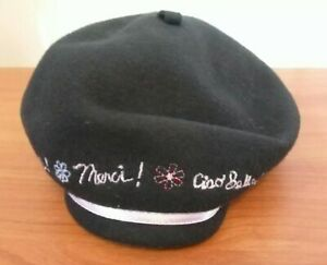 Gymboree Black Wool Girls Lined Beret Hat Pink Ribbon Embroidery Sz 6-18 Months