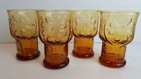 LIBBEY Country Garden Floral Embossed Juice Glasses 1970's Amber Glass (4) SET