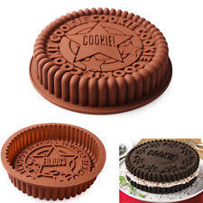 Large Cookies Shape Silicone Cake Pan Bread Pizza Baking Tray Bakeware Mould New