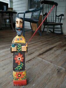 """Patron Saint of Cooks Wooden Sculpture San Pasqual 15.5"""" Tall (Missing Spoon)"""