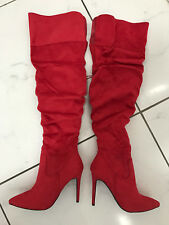 wild red leather look boots 12 cm Sexy fetish high heels 42 41 UK8 US10