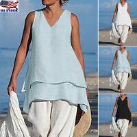 Women Casual Asymmetrical Plus Size Sleeveless Blouses V Neck Tunics Shirt Tops