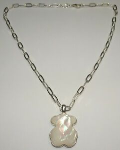 Beautiful TOUS Sterling Silver Mother of Pearl Teddy Bear Necklace-great chain!