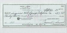 Sam Snead Professional PGA Golf Champion Autographed 1988 Bank Check