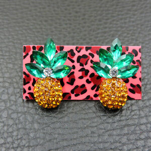 Hot Yellow Enamel Cute Pineapple Fashion Betsey Johnson Women Stud Earrings