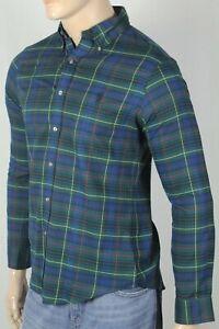 Ralph Lauren Green Blue Plaid Slim Fit Dress Shirt Black Pony NWT