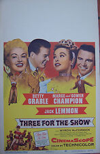 THREE FOR THE SHOW,Betty Grable, Jack Lemmon,Marge &Gower Champion,Window Card