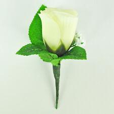 ARTIFICIAL SILK FLOWERS IVORY SINGLE ROSE BUD BUTTONHOLE
