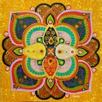 Lotus Mandala Painting Sacred Geometry Handmade Bali Wall Art hanging Orange