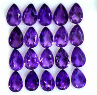 NATURAL PURPLE AMETHYST PEAR FACETED CUT LOOSE GEMSTONE LOT AAA QUALITY