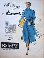 PUBLICITÉ DE PRESSE 1955 BLIZZAND TISSUS GARANTI BOUSSAC - DESSIN COURONNE