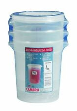 Cambro RFS4PPSW3190 4-Quart Round Food-Storage Container with Lid, Set of 3
