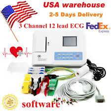 Digital 3 Channel 12 lead ECG machine EKG Electrocardiograph +software US seller