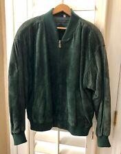 Roundtree & Yorke Vintage Green Leather Bomber Jacket Coat Men's Size XL TT