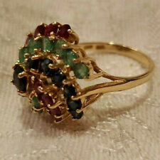 14k Yellow Gold Ladies Sapphire Ruby Emerald Dome Cocktail Ring 4.75g Scrap Wght