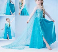 Hot Girls Frozen Queen Elsa Princess Cosplay Costume Party Fancy Dress 3-8T