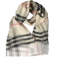 Women's Fashion Big Grid Silk and Wool Scarf with Multi-Color Options