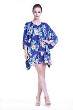 Poncho Dress Luau Tropical Cruise Hawaiian Tie Beach Plus Size Blue hibiscus
