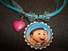 Blue Cord Ribbon Necklace Bottle Cap Bling Heart Charm Bead Despicable Me Agnes