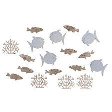 Streudeko 20 Holz Streuteile Fische u. Korallen Streuelemente Maritim